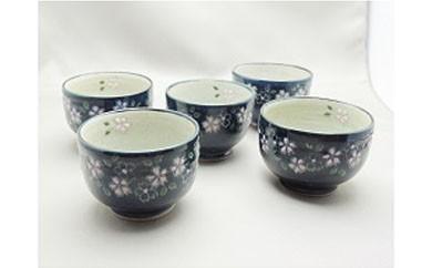 E007 陶修窯 碁点焼 藍桜花紋丸湯呑み 5個セット