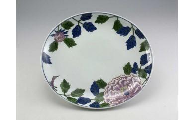 【地場】キ-16 有田焼 染錦紫牡丹絵 楕円皿