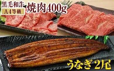 608 焼肉&うなぎセット《黒毛和牛(A4等級)カルビ+うなぎ蒲焼》