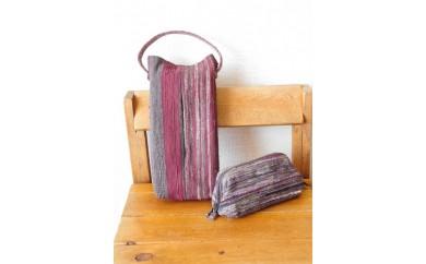 B198② 裂き織りのティッシュカバーとポーチのセット