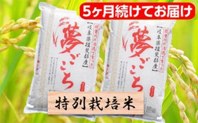 [№5644-0329]特別栽培米★[頒布会] 5カ月★毎月 精米20kg または玄米22kg 【夢ごこち】