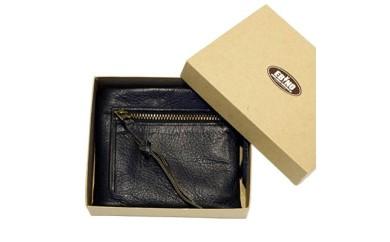 シカ革二つ折れ財布(黒)