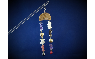 D-198 天然石簪(かんざし)「白紅の響(ひびき)」