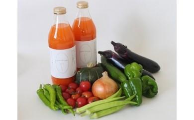 015-031 若葉農園の無農薬自然栽培野菜セットと自然栽培野菜人参ジュース1ℓ2本
