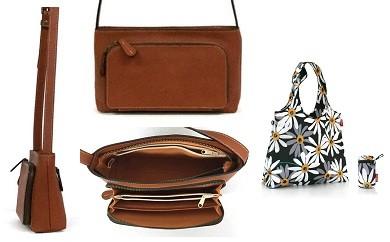 E-0007 職人の手作り財布バッグと小さく収納可能な保冷バッグ