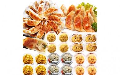 [№5855-0035]肉餃子+ジャンボにら餃子+チャーハン5種×各4袋セット