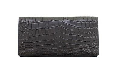 G-0067 クロコダイル 長財布(小銭入付) 黒色