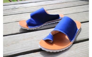 A449 まる歩靴工房 ムナカタサンダル(帆布・青)