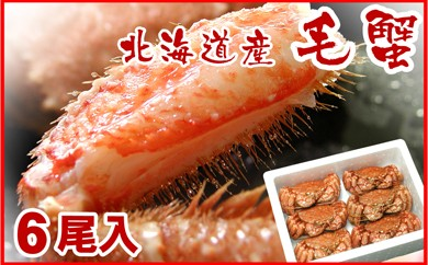CC-10002 北海道産ボイル毛蟹500g前後×6尾セット[338205]
