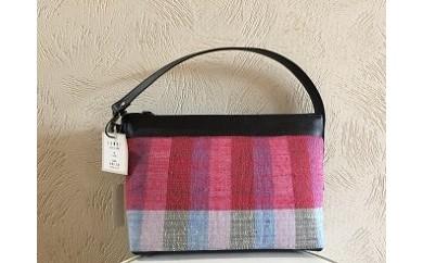 【G066】 【1点限定】結城紬と革のセカンドバッグ 【175pt】