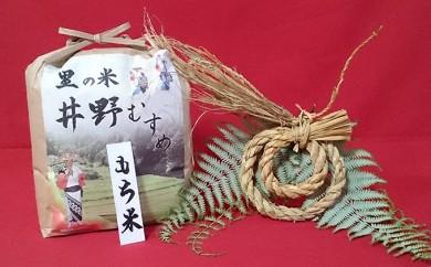 602.里の米 井野むすめ(もち米)3kg 手作りしめ縄付き