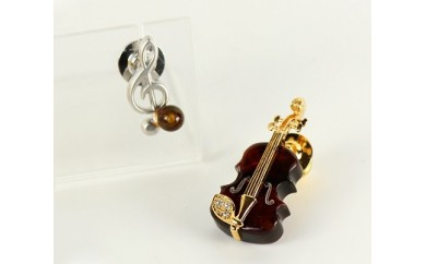F-004 バイオリンタックブローチと音符ブローチセット