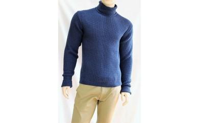 【K-59】ウールカシミヤコットンリブタートルネックセーター(メンズ)
