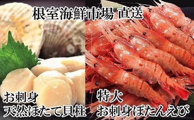 CA-22023 根室海鮮市場<直送>刺身用天然ほたて貝柱、刺身用ぼたんえび[358650]