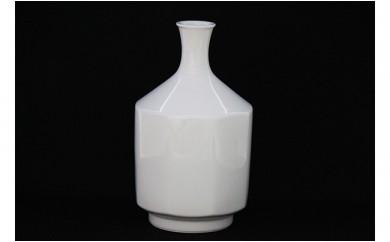 A1400-1 人間国宝 井上萬二作 白磁面取 花瓶