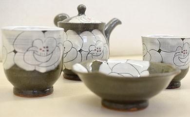 625 高隈焼のあすか オリジナル花絵茶器セット