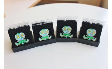 久米島の亀ロゴマークピンバッジ(×4)セット