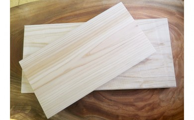 [№5759-0127]ヒノキ製まな板 大中2枚セット