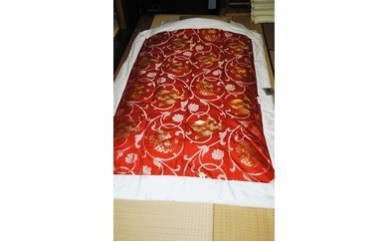 45M02 純金糸・西陣織・最高級真綿掛けふとん 1枚 エンジ色(限定6枚) シングルロング(150cm×210cm)