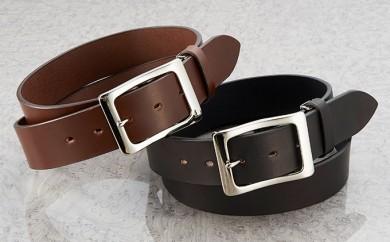 [№5696-3155]牛革 極厚一枚革ベルト カラー:ブラック