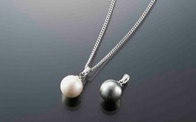 [№5696-3007]大粒「貝パール ホワイト・グレー&磁気ネックレス」3点セット
