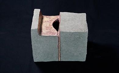 L-4 創作陶器・花器 「緑彩箱花器」