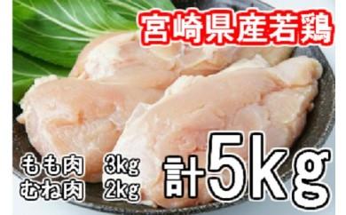 B-48 業界最大級5,000g!宮崎県産若鶏セット※平成30年8月以降出荷【5,000pt】