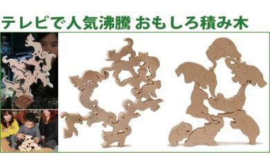 080-001人気沸騰おもしろ積み木「ネコの自由積み木+象のサーカス」