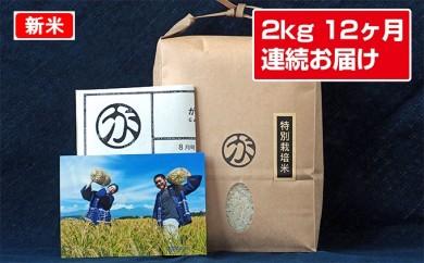 [№5865-0137]【12ヶ月連続定期便】がんも農場のお米毎月お楽しみ2kg
