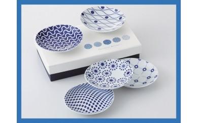 OA02 【テキスタイルデザインがかわいい♪】【西山窯】ジオメトリー小皿5P【波佐見焼】