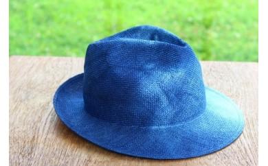 [№5707-0116]職人技が光る、天然帽子 ケンマ草 インディゴ手染め中折れハット