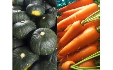 No.058 (A)かねこ農園 有機基準栽培かぼちゃ+減農薬栽培土付きニンジンセット