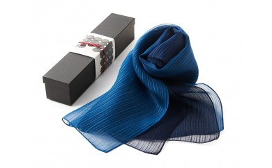 G002 藍染シルクスカーフ(L)グラデーション
