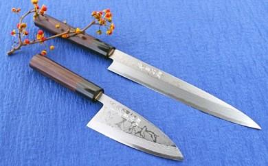 伝統工芸士 北岡作 多層鋼 白紙2号「柳刃」210mmと「薄出刃」120mm