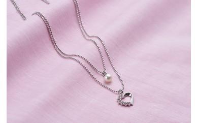 真珠品評会入賞常連のオーハタパールが作る海の宝石 アコヤ真珠 2連ペンダント(ハート)