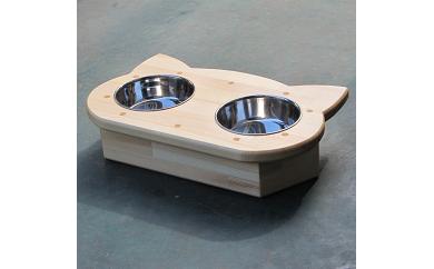 D-211 手作り木製2椀付きペット用食器Ver.2(少し小さめ)