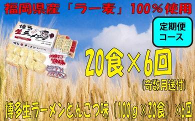 E035.【定期便】博多生ラーメンとんこつ味(100g×20食)×6回