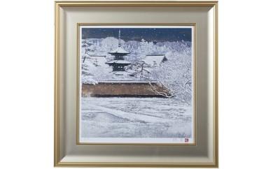 N12【後藤純男日本画リトグラフ 塔映「雪」(8号)】