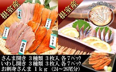 CC-24003 【北海道根室産】お刺身さんま&さんま・いわしの味付け開きセット[376588]