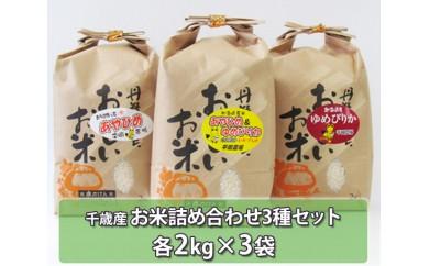 No.123 千歳産お米詰め合わせ3種セット(あやひめ、ゆめぴりか、ブレンド米) 約6kg / お米 希少 セット 北海道 人気