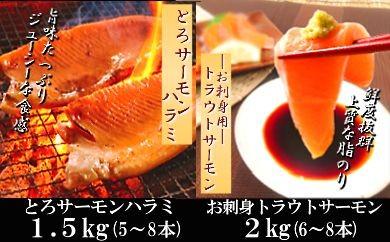 CC-24006 お刺身トラウトサーモン&とろサーモンハラミセット[376591]