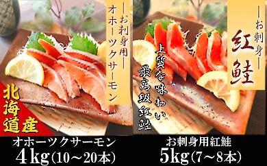 CC-18007 紅鮭とオホーツクサーモンのお刺身セット[376599]