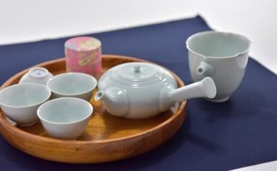 宇治田原産宇治玉露と青磁の茶器・湯呑4客セット