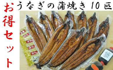 【四国一小さな町のお得なうなぎセット】高知県産うなぎの蒲焼き10枚