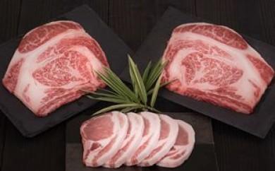 B29053 ビッグサイズの豊後牛ロース&桜王豚ロースの7枚組ステーキ・通