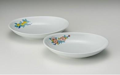 H183色鍋島楕円皿ペア「桜・橘」