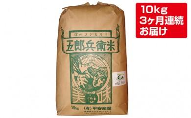 [№5865-0150] 【3ヶ月連続定期便】平成29年度特別栽培米五郎兵衛米 10kg
