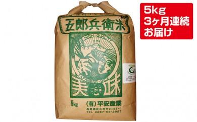 [№5865-0149] 【3ヶ月連続定期便】平成29年度特別栽培米五郎兵衛米 5kg