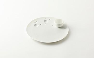 有田焼/やま平窯/惑星丸プレート白泡23cmとボウルS