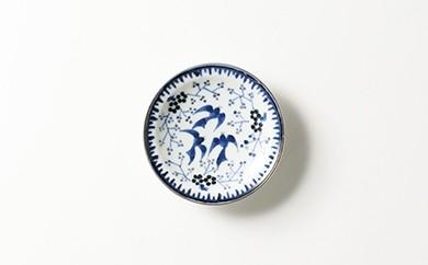 有田焼/たなかふみえ/銀彩鳥小花縁付小皿